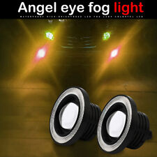 "3.5"" inch LED Fog Light Projector Driving Lamp COB Angel Eye Halo Ring Kit Amber"