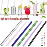 Wedding Birthday Party Reusable Straight Pyrex Glass Drinking Straw+ Brush Case