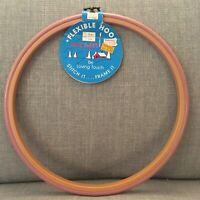 "Round 10"" Plastic Flexible Hoop Cross Stitch Crafts Pink Needlework Frame"