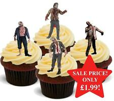 12 Halloween Zombie Miedo Mezcla Comestible Oblea Cake Toppers STAND UPS Novedad espeluznante