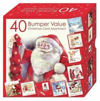 40 Christmas Cards Bumper Box Assorted Xmas 10 Designs Adult Children Cute Card