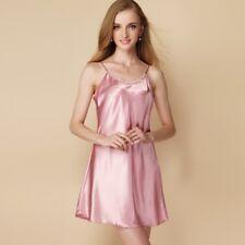 Lady Satin Full Slip Under Dress Petticoats Night Sleep Camisoles Faux Silk Soft