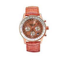 Krug Baumen 400704DS aire viajero Diamante Naranja Reloj Con Correa De Cuero Rrp £ 775
