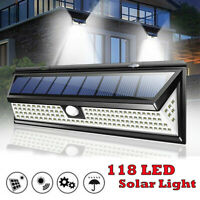 118 LED Waterproof Solar Lamp Outdoor Garden Yard PIR Motion Sensor Wall Light
