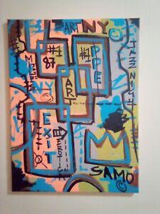 basquiat original signed 18 x 24 on canvas Basquiat, Pinguin.