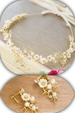Bridesmaid Bridal Flower Gold Ivory Vintage Style Pearl Crystal Vine Earring Set