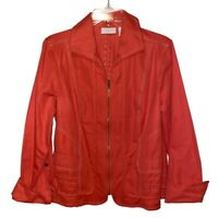 Chicos Womens Lightweight Jacket Orange Zip Up Flap Pockets Stitching 12/Large