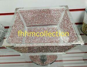 Crushed Crystal Diamond Pink Large Fruit Bowl Bling NEW