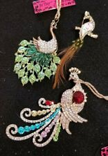 Lot G - Betsey Johnson- Set Of 3 Multicolor Crystal  Peacock  Pins & Pendants