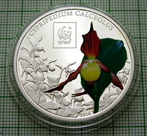 TANZANIA 2016 100 SHILLINGS, Lady's Slipper Orchid - WWF SERIES COLOURED CAPSULE