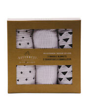 3 Queenwest Trading Swaddle Blankets Gift Box Cotton Muslin B&W patterns 40X40
