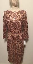 Tadashi Shoji Embroidered Sequin Lace Belted Dress In Dusty Rose Size 14 NWT