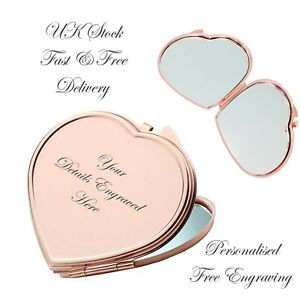 Personalised Rose Gold Heart Shape Compact Mirror Bridesmaid Wedding Xmas Gift