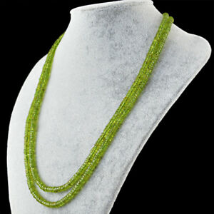 Exclusive 2 Strand 304.50 Cts Natural Untreated Green Peridot Beads Necklace