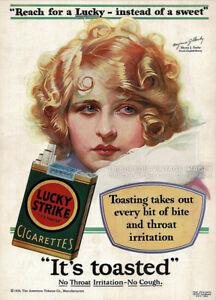Vintage 1929 LUCKY STRIKE Cigarettes Ad - MYRNA DARBY - Advertising Art Print