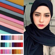 New Women Girl Wrap Shawl Scarf Bubble Chiffon Long Islamic Muslim Hijab Scarves