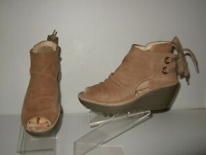 Fly London Yema Brown Nubuck Ankle Lace Up Wedge Peep Toe Sandals Sz.37 / 7-7.5
