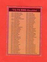 1973-74 O-Pee-Chee OPC  # 129 Checklist  Dark Back Ex