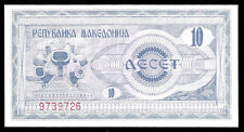 World Paper Money - Macedonia 10 Denar 1992 P1 @ Crisp UNC