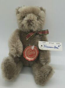 """Vintage 6"""" mohair Hermann Teddy w/ tags made in W. Germany 62/17/4"""