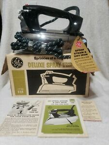 1965 VTG GE DELUXE SPRAY STEAM AND DRY IRON IN ORIGINAL BOX W/ORIG.PAPERWORK F81