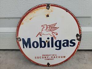 Vintage Mobilgas Company Porcelain Sign  Automotive Soda Camping