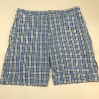 Age of Wisdom Cargo Shorts Mens 42 Blue Tan Flat Front 100% Cotton Plaid Zip Fly