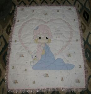 Precious Moments Love Covers All Baby Infant Quilt Blanket Comforter Girl Bunny