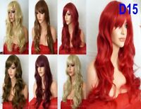 Fashion Women Long Highlight Blonde Brown Red Ombre Synthetic Heat OK Hair Wig D