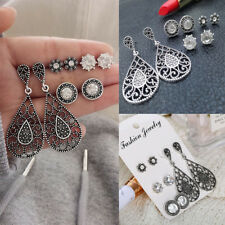 4Pairs/Set Fashion Elegant Crystal Stud Earrings Set Women Gifts Charm Jewelry