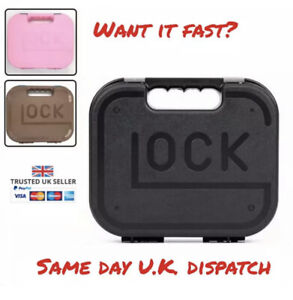 Glock Pistol Hard Case Padded G17 G18 Airsoft BB Gun Tan Black Pink Foam Carry