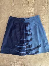 Vince Cotton Brush Print A-line Navy Skirt 8
