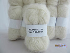 Mohair Wool Yarn 10 x 50g Balls White 78% Mohair Double Knitting