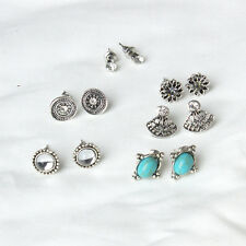 6 Pairs Ear Flower Crystal Multiple Accessories Jewelry Earrings Turquoise