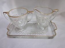 1940-60s Jeannette Glass Company Gold Anniversary 3pc Cream and Sugar with Plate