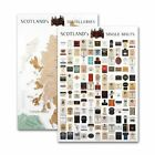 WHISKY Poster Schottland Landkarte & Destillen A1 60x84cm hochertiger Kunstdruck