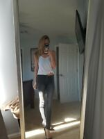 hm skinny low waist biker motorcycle jeans women dark gray size 25 zippers