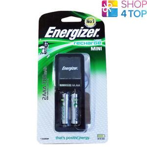 Energizer Accu Auflade Mini Ladegerät Für AAA Aa & 2 Aa 2000mAh Batterien Neu