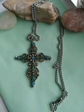 Vintage Roma faux turquoise cross silvertone necklace