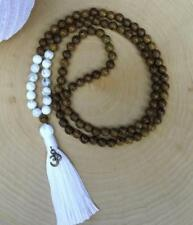 8MM natural wenge wood108 praying Mala necklaces knotted yoga meditation tassel