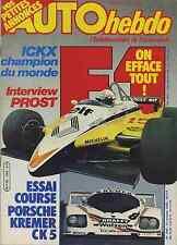 AUTO HEBDO n°340 du 21  Octobre 1982 PORSCHE CK5 ICKX PROST