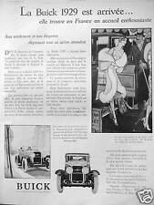 PUBLICITÉ LA BUICK 1929 GENERAL MOTORS EST ARRIVÉE EN FRANCE