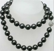 12mm AAA Black South Sea Shell Pearl Long Necklace 34""