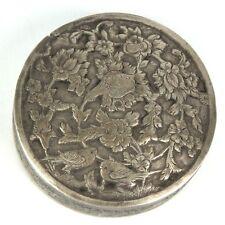 Antique Persian Silver Trinket Case Box Engraved w/ Flowers & Love Birds w/ Lid