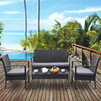 4 PCS Outdoor Patio Rattan Wicker Furniture Set Table Sofa Cushioned Deck Black