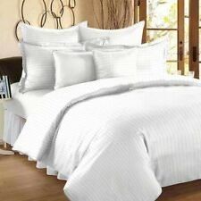 White King Size Satin Stripe Hotel Luxury cotton Bed Sheet 2 Pillow covers