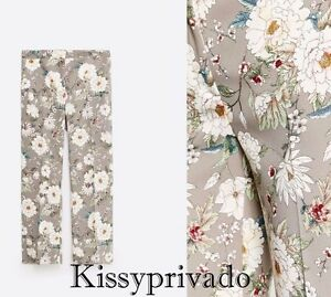 ZARA Silver Grey Multicoloured Floral Print Ankle Length Trousers L BNWT