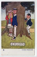 """CAUGHT"": Cricket Illustrated comic postcard (C31488)"