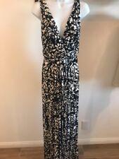 TART Collections Adrianna Black White Modal Jersey Sz Large Print Maxi Dress A53