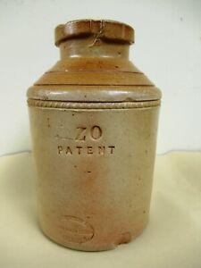 Antique Stephen Green Lambeth Pottery Stoneware Crock Jar Pot Zo Patent Rare *F